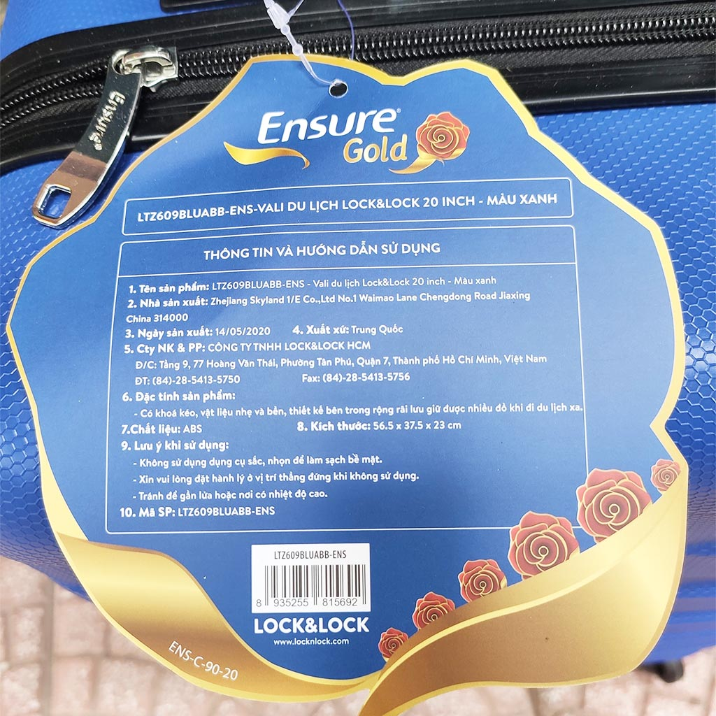 Vali xách tay có khóa số Lock&Lock Travel Zone LTZ609BLU 20inch Ensure