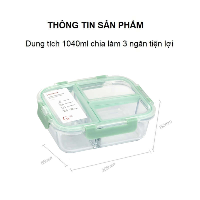 Hộp thủy tinh chia 3 ngăn Lock&Lock Glass Food Container LLG458