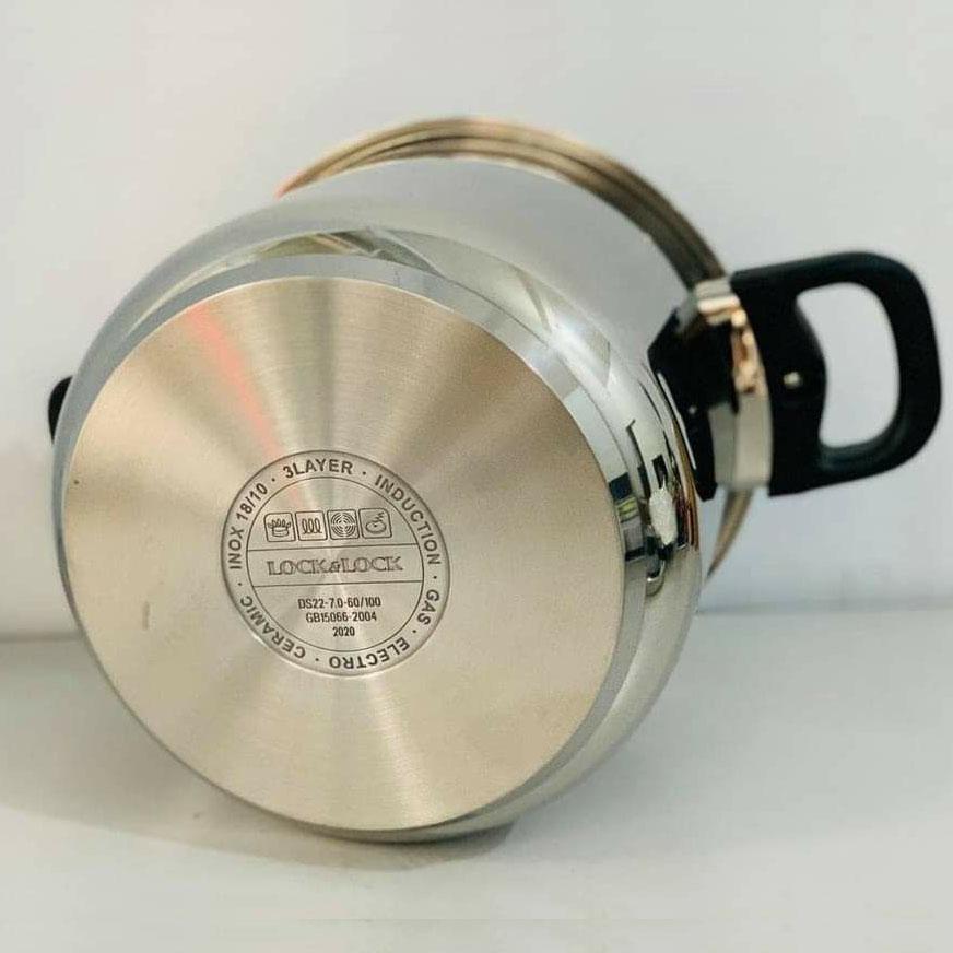 Nồi áp suất Inox 304 Lock&Lock One touch CCP227SLV dung tích 7 lít 22cm hàng chính hãng, bảo hành 12 tháng