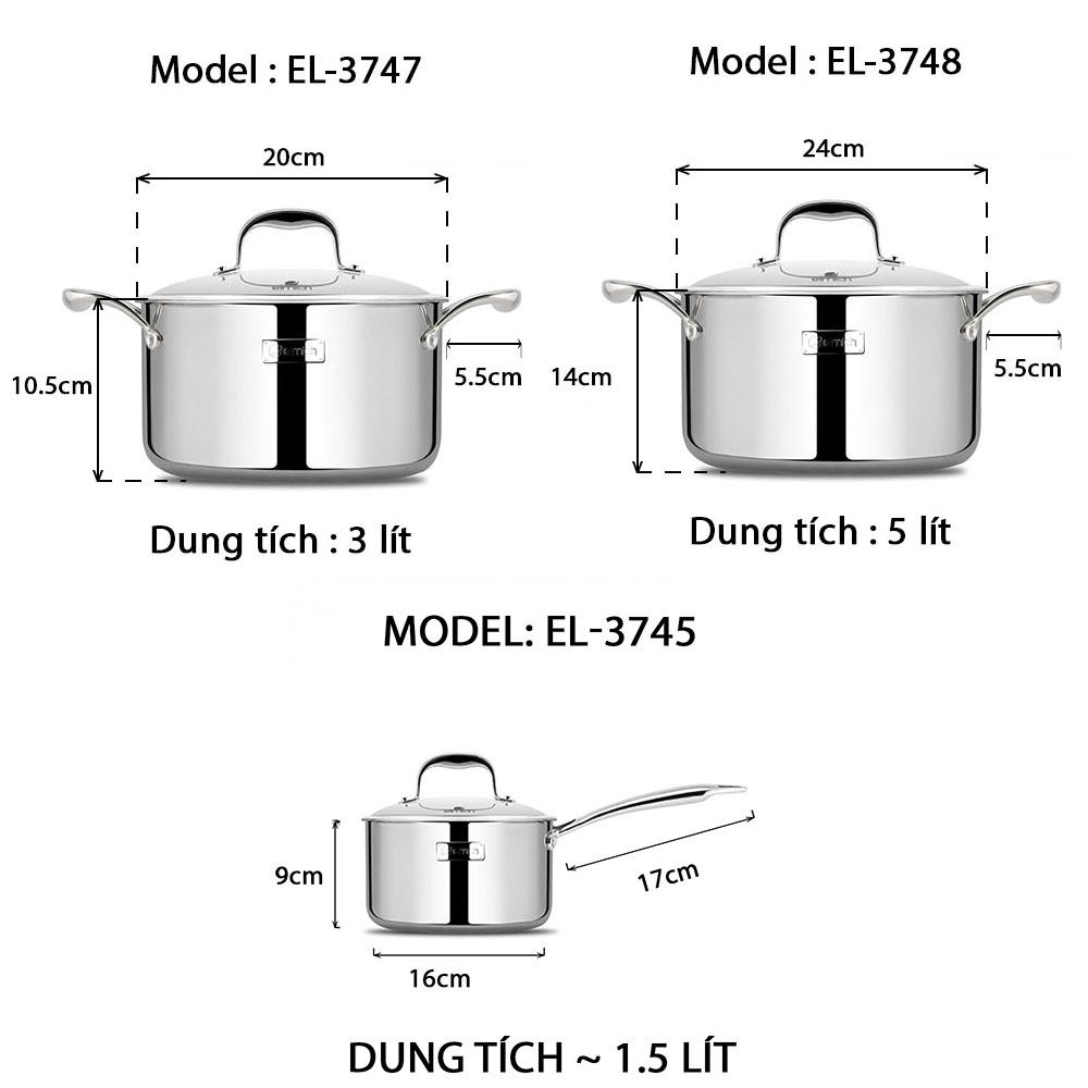 Bộ nồi Inox 304 cao cấp 3 lớp đáy liền Trimax XS EL-3743