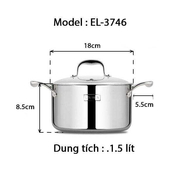 Nồi inox 3 lớp cao cấp đáy liền Emich Tri-max XS EL-3746 size 18cm