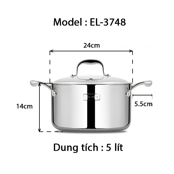 Nồi Inox 3 lớp cao cấp đáy liền Emich Tri-Max XS EL-3748 Size 24cm