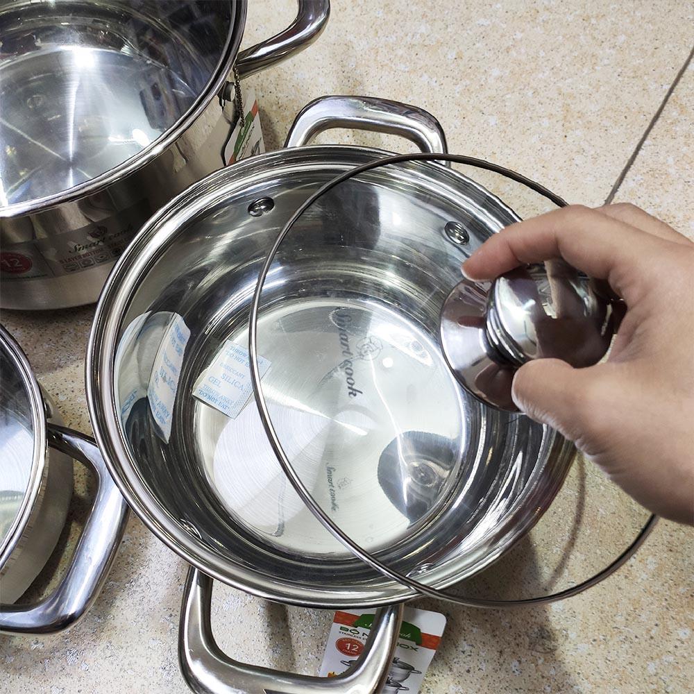 Bộ 3 nồi Inox 304 đáy 5 lớp Elmich Smartcook SM-3337 size 16,20,24cm dùng bếp từ