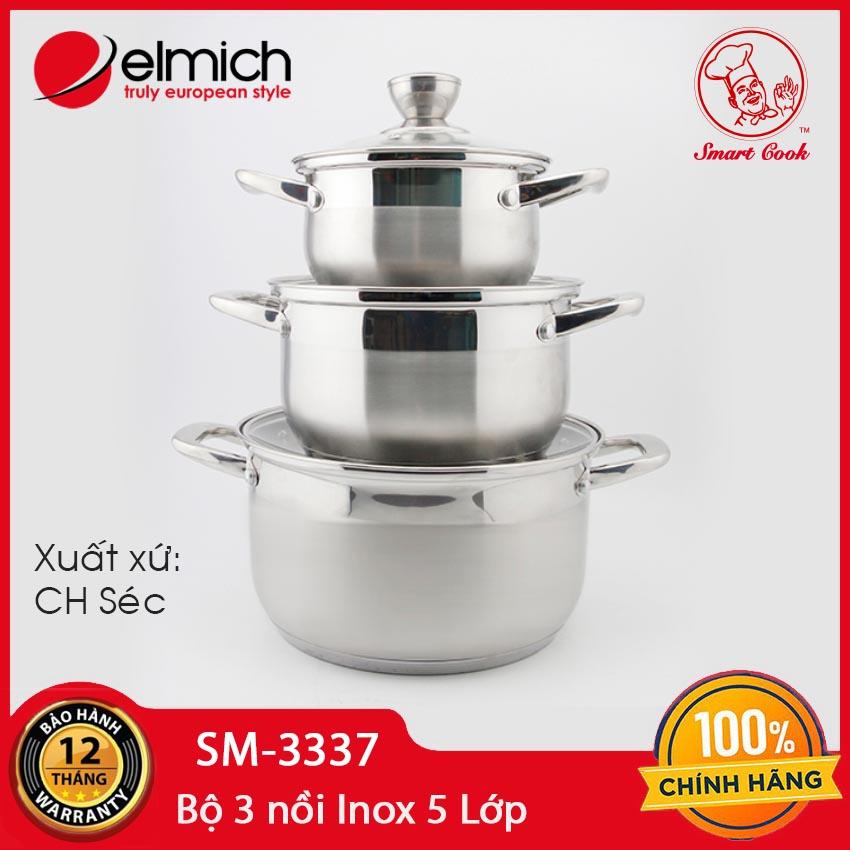 Bộ 3 nồi Inox 5 lớp Elmich EL-3337 size 16,20,24cm dùng bếp từ