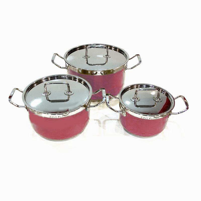 Bộ 3 nồi Inox 430 Fivestar 3 đáy quai vuông sắc màu hồng