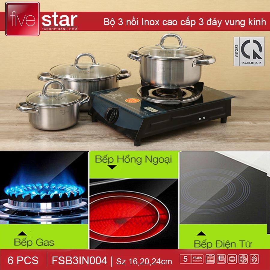 Bộ 3 nồi inox 3 đáy nắp kính Fivestar FSB3IN004 dùng bếp từ