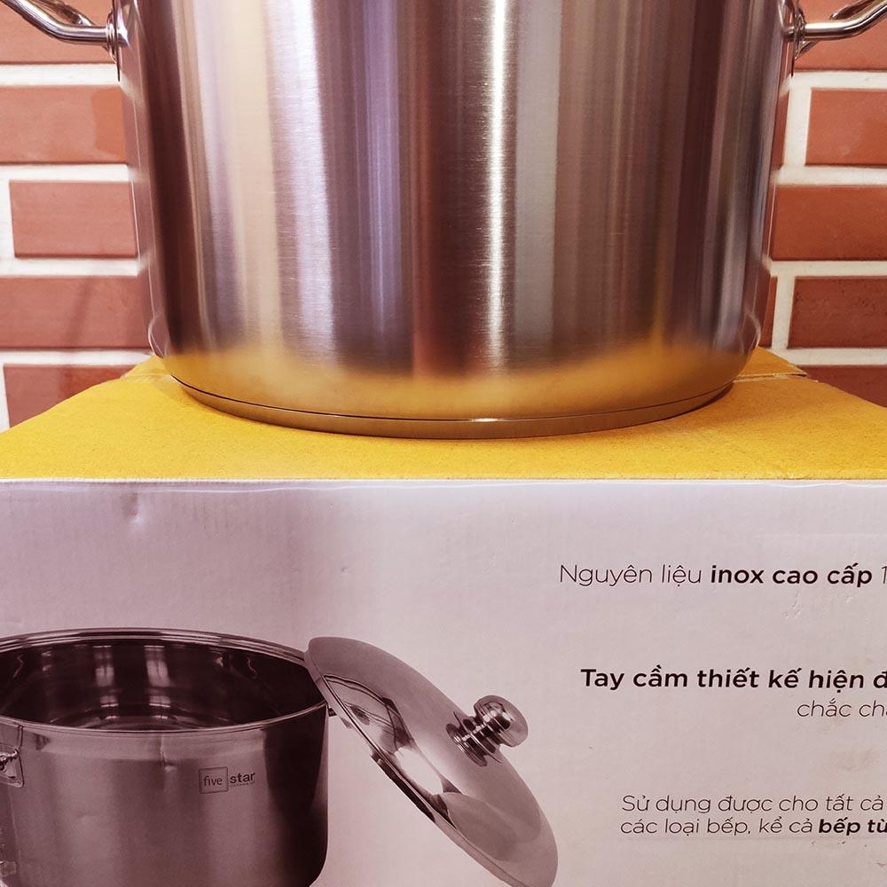 Nồi luộc gà Inox 3 đáy Fivestar 36cm dung tích 20 lít dùng bếp từ vung kính - Bảo hành 5 năm