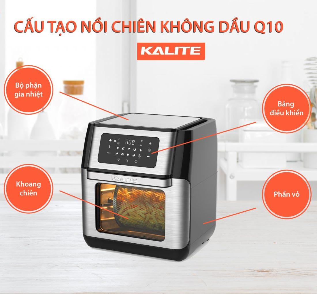 Nồi chiên không dầu điện tử đa tính năng Kalite Q10 dung tích 10 lít