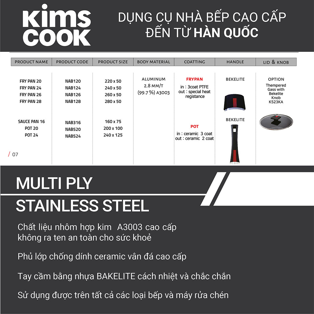Quánh chống dính 2 mặt Kims Cook Next Style 16cm đáy từ