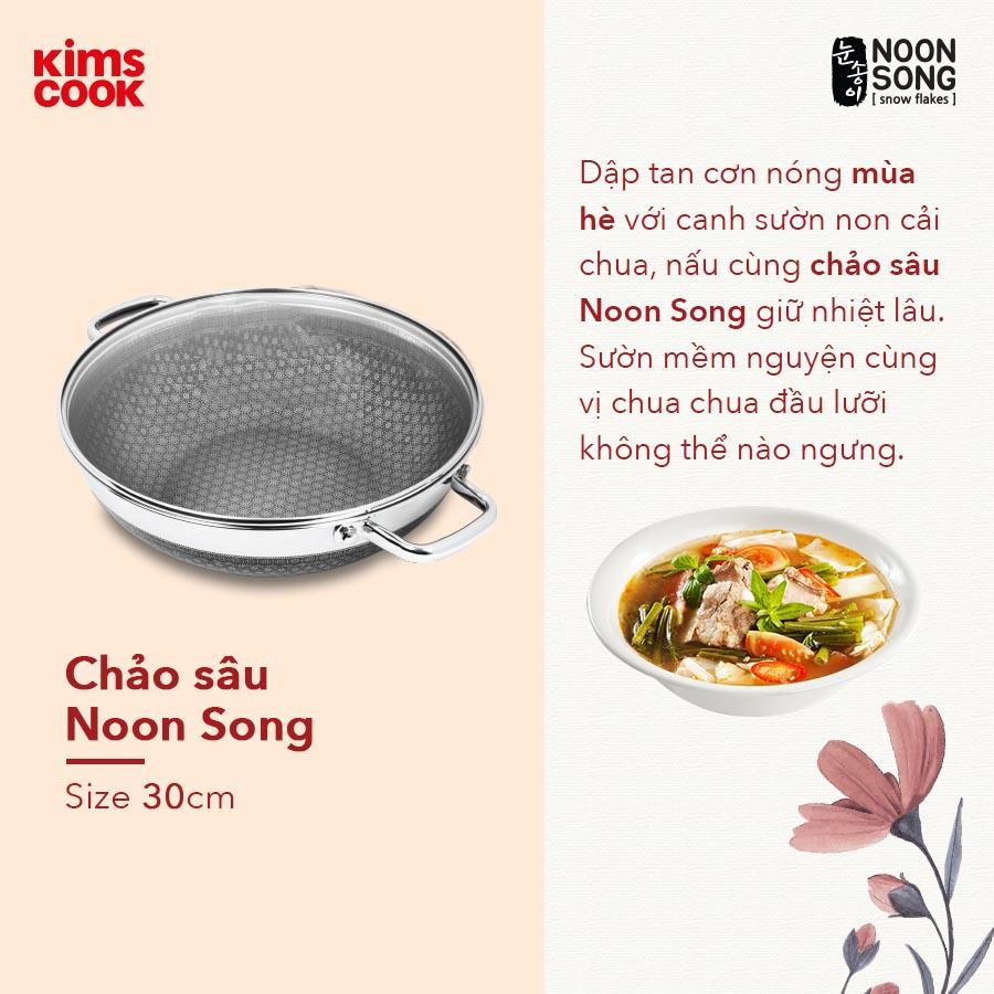 Chảo sâu lòng chống dĩnh 2 mặt Inox 3 lớp đúc liền Kimscook Noon Song