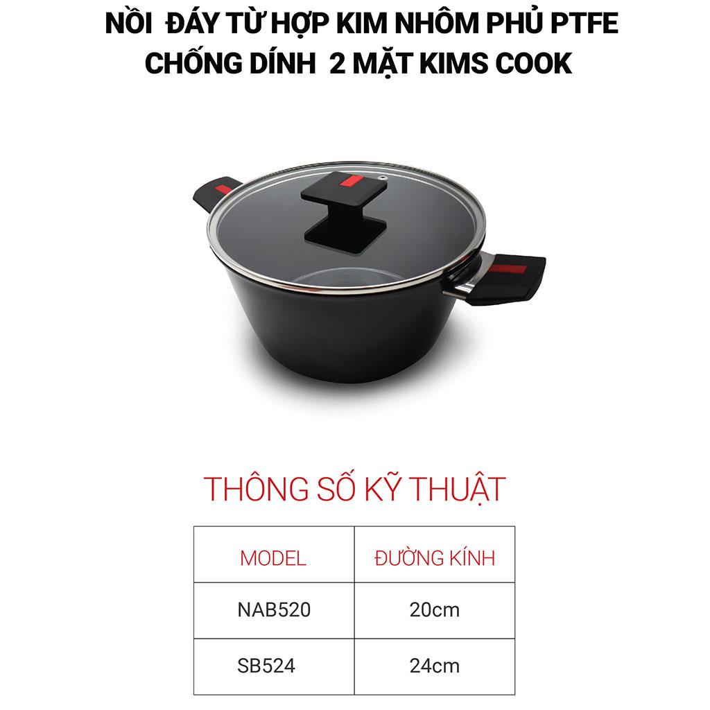 Bộ 2 nồi chống dính 2 mặt Kimscook Next Style Paella đáy từ hợp kim nhôm phủ PTFE