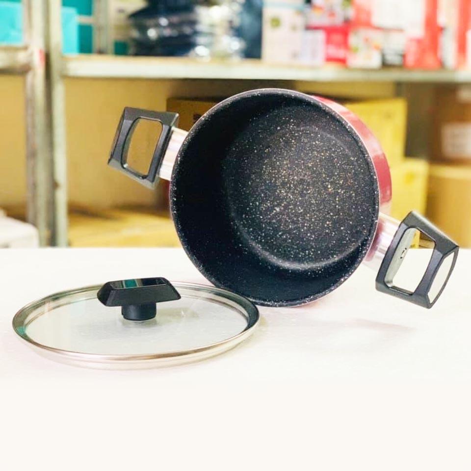 Nồi hợp kim nhôm chống dính vân đá đáy từ nắp kính Kims Cook 18cm EARM318H