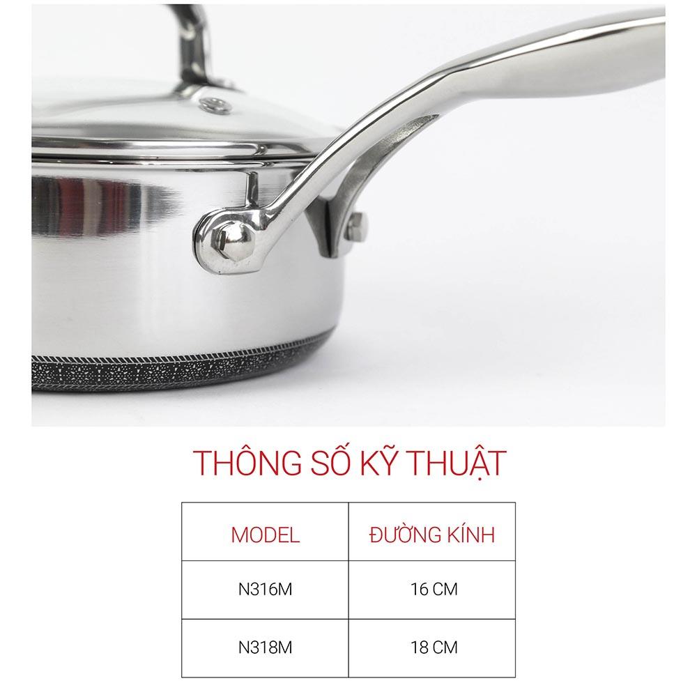 Quánh chống dính Inox 304 Kims Cook Noon Song 2 mặt 3 lớp đúc liền đáy từ nắp kính