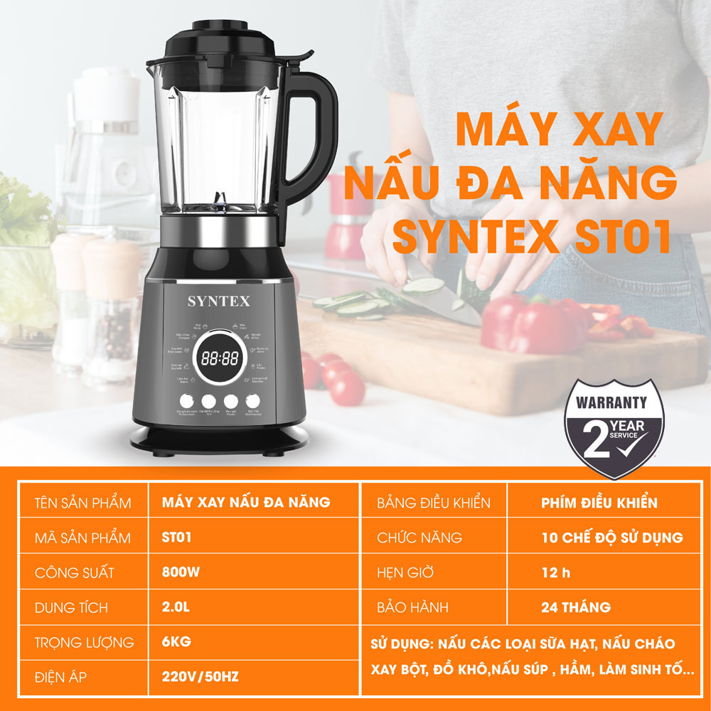 Máy xay nấu sữa hạt đa năng Syntex ST01 dung tích 2 lít 800W