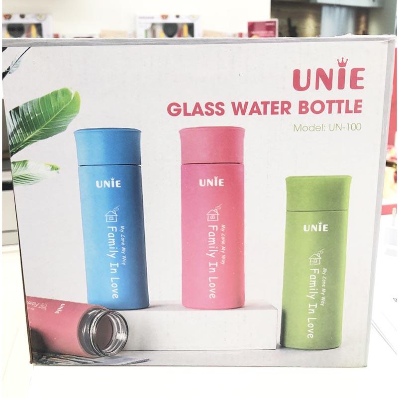 Bình đựng nước thủy tinh Unie UN100 bọc nhựa dung tích 450ml
