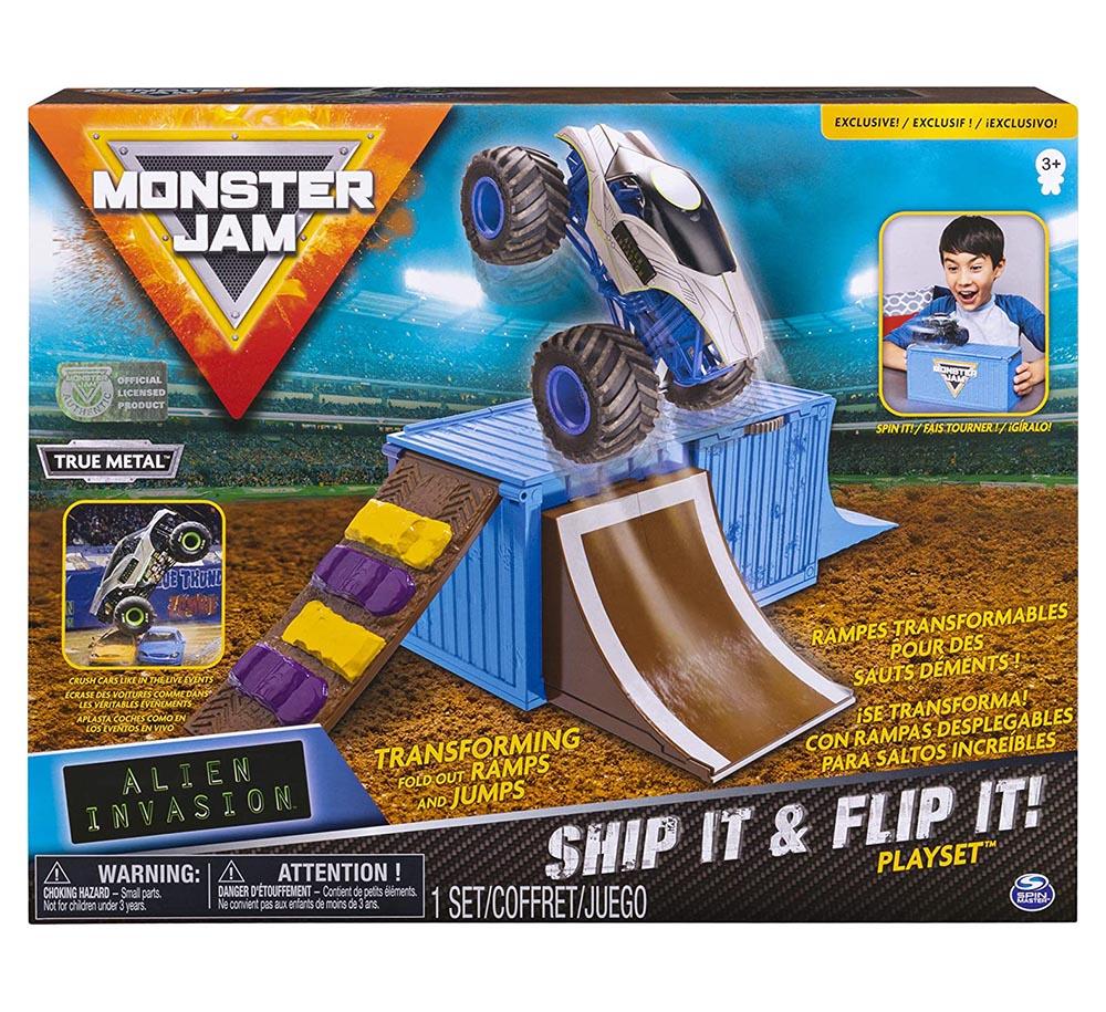 Bộ xe tải mô hình Monster Jam True Metal Alien Invasion nhào lộn vượt Container