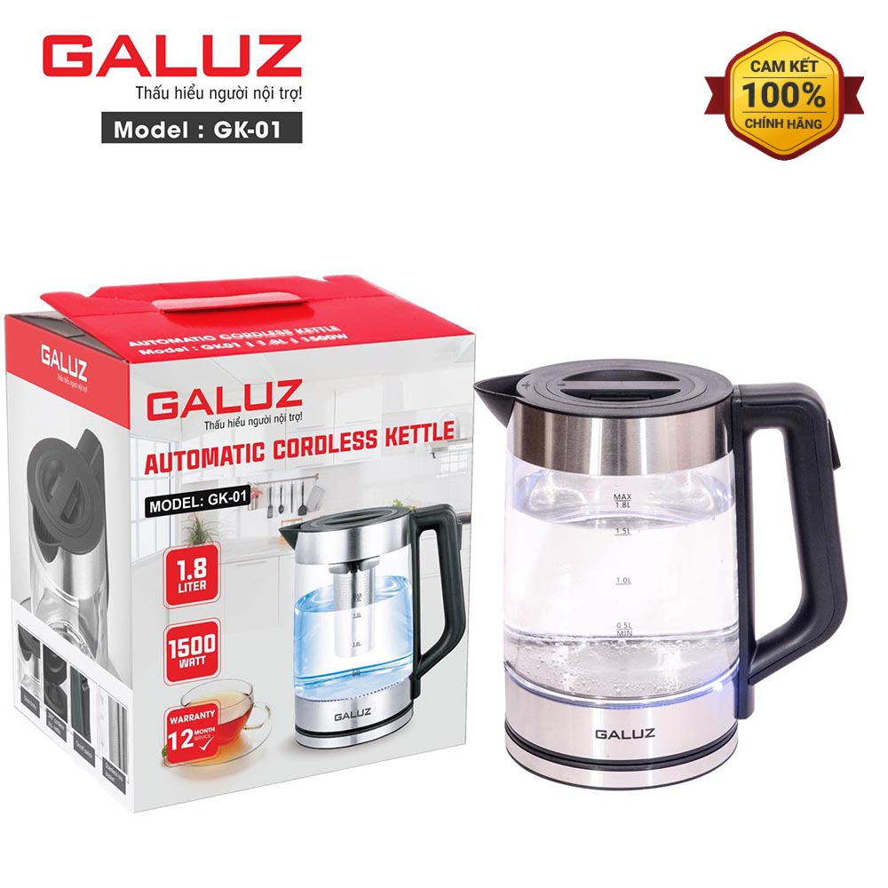 Ấm điện siêu tốc thủy tinh kiêm bình pha trà Galuz GK-01 dung tích 1.8 lít