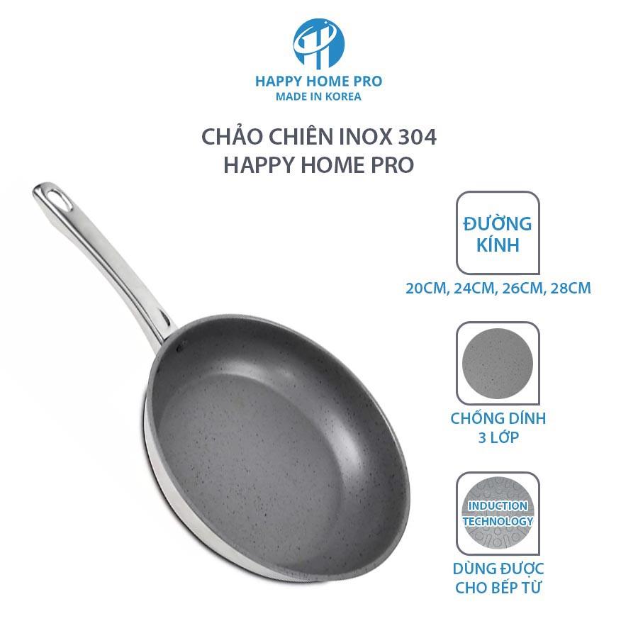 Chảo chiên chống dính Inox 304 Happy Home Pro Hàn Quốc đáy từ 3 lớp size 20cm