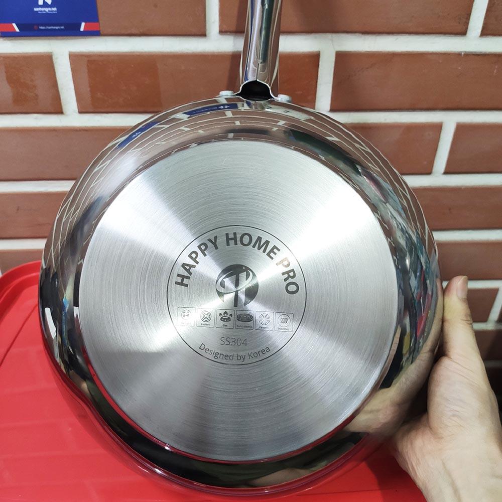 Chảo sâu lòng chống dính Inox 304 Happy Home Pro Hàn Quốc 3 lớp đáy từ size 28cm
