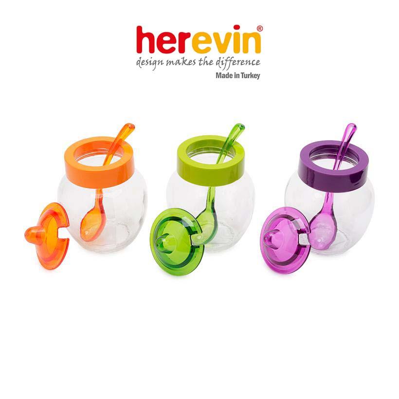 Hũ gia vị thủy tinh kèm muỗng Herevin 370ml