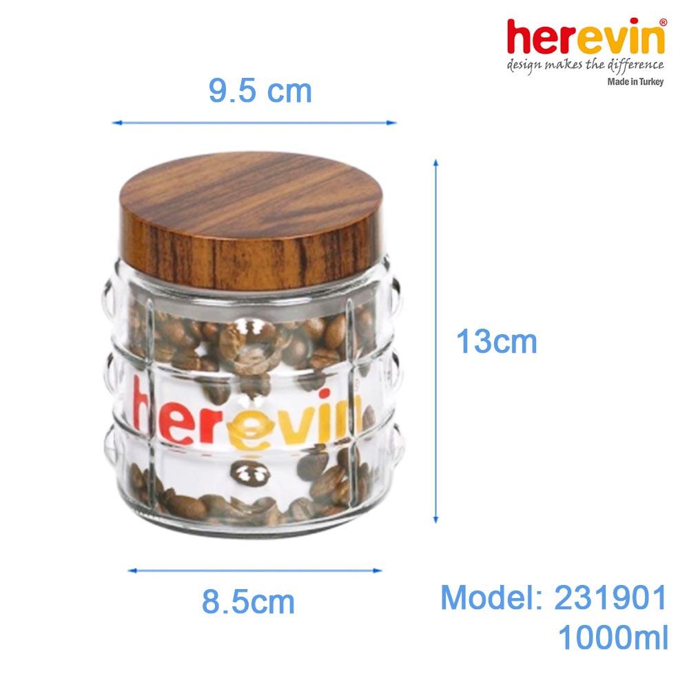 Hũ thủy tinh Herevin tròn trơn nắp Woody 1000ml - Xuất xứ Thổ Nhĩ Kỳ