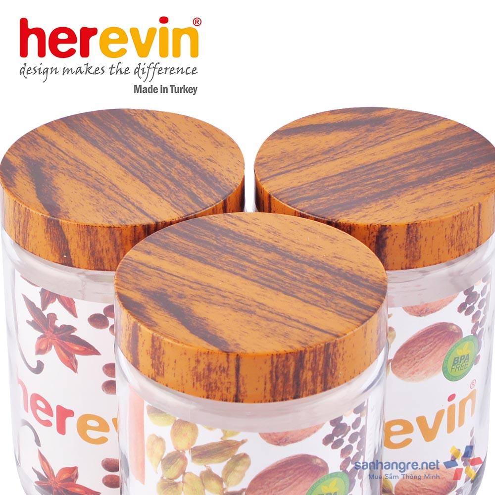 Hũ thủy tinh Herevin tròn trơn nắp Woody 660ml