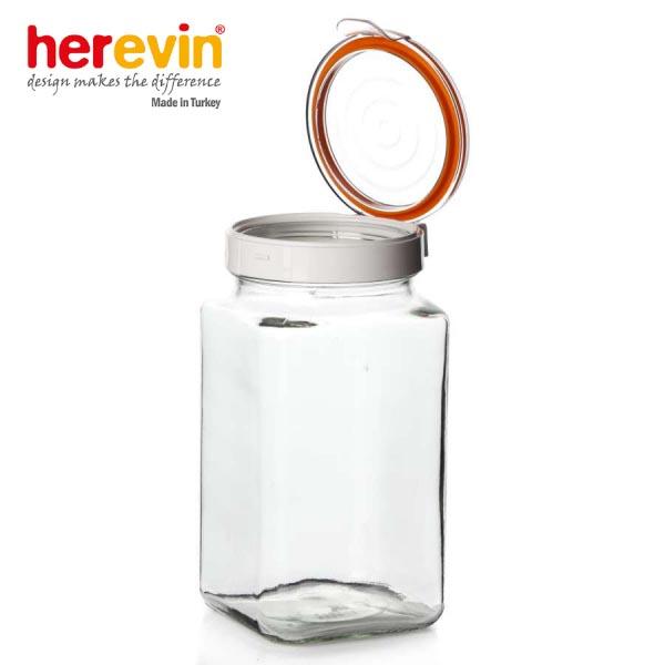 Hũ thủy tinh Herevin vuông nắp gài 2000ml