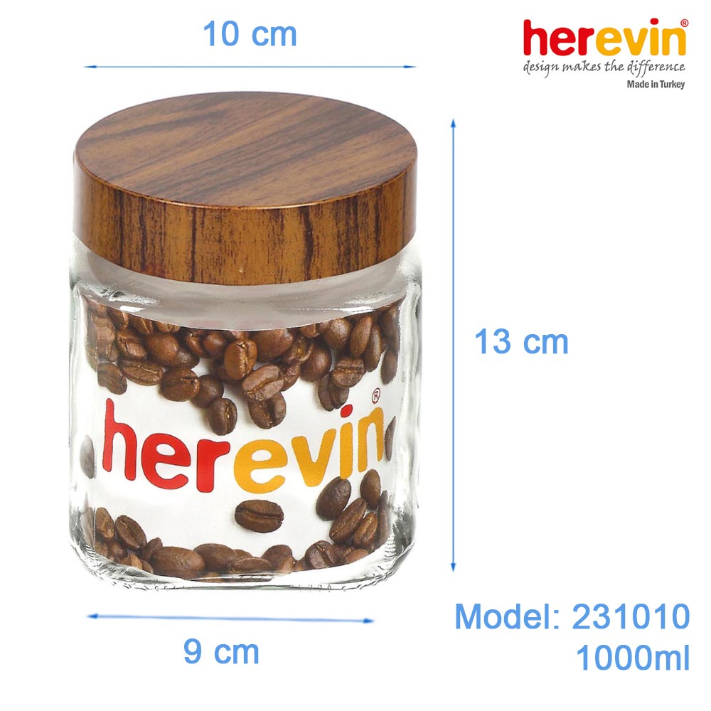 Hũ thủy tinh Herevin vuông trơn nắp Woody 1000ml