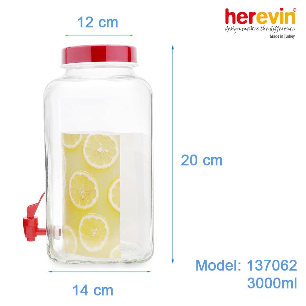 Hũ thủy tinh vuông có vòi Herevin 3 lít