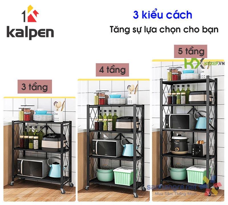 Kệ xếp gấp gon di động thông minh Kalpen 4 tầng