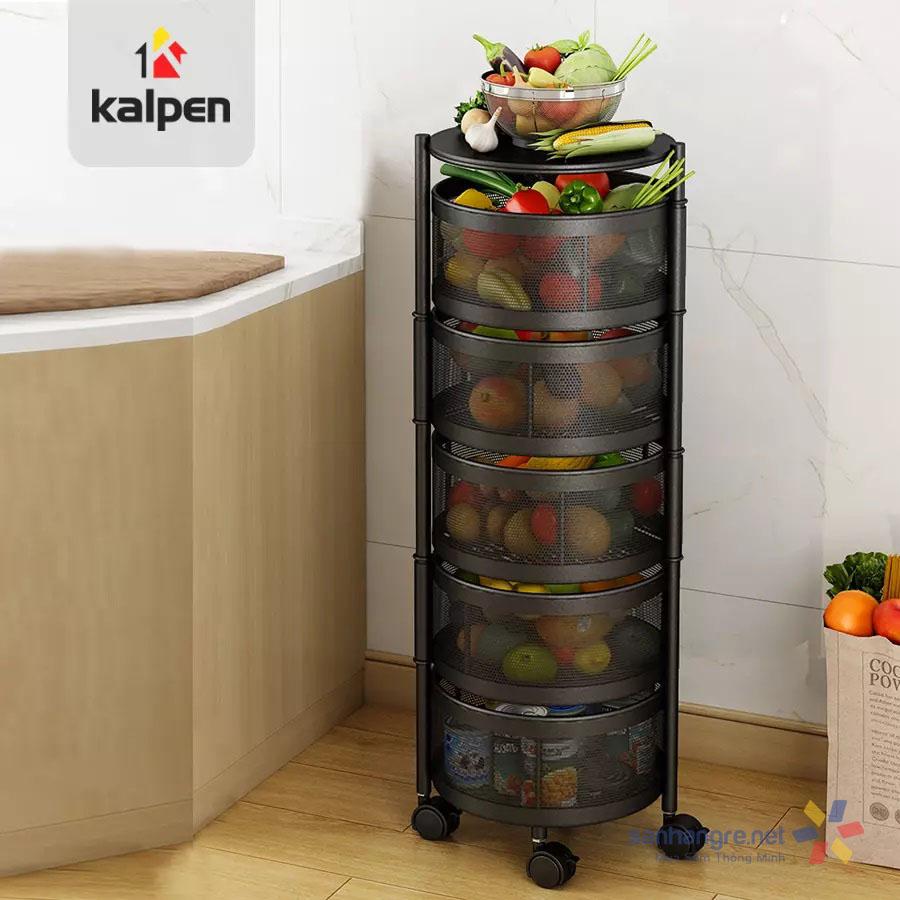 Kệ rổ xoay tròn đựng đồ dùng đa năng thông minh Kalpen có bánh xe hàng xuất Nhật
