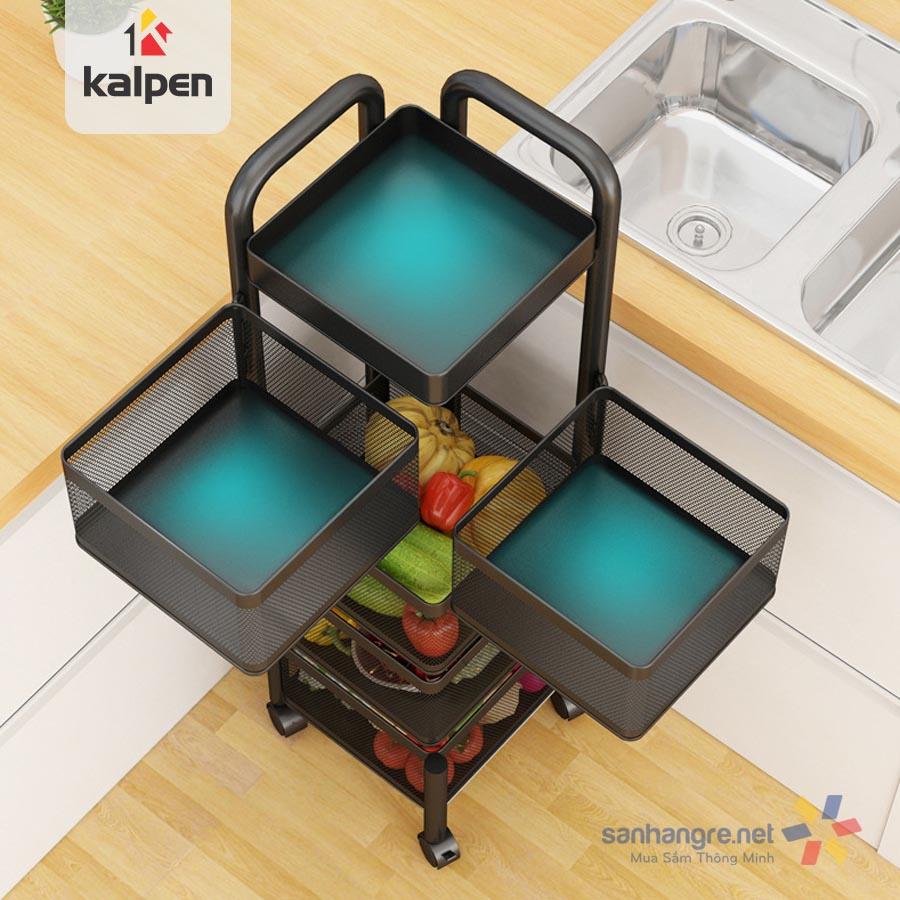 Kệ rổ xoay vuông 5 tầng đa năng Kalpen có bánh xe xoay 360 độ xuất Nhật