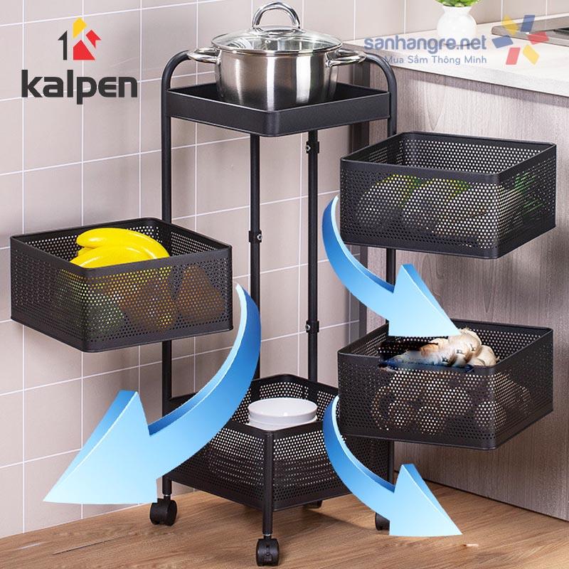 Kệ rổ xoay vuông 4 tầng đa năng Kalpen xoay 360 độ xuất Nhật