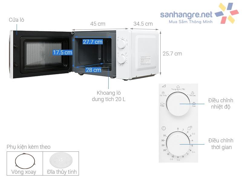 Lò vi sóng Electrolux dung tích 20 lít EMM20K18GW