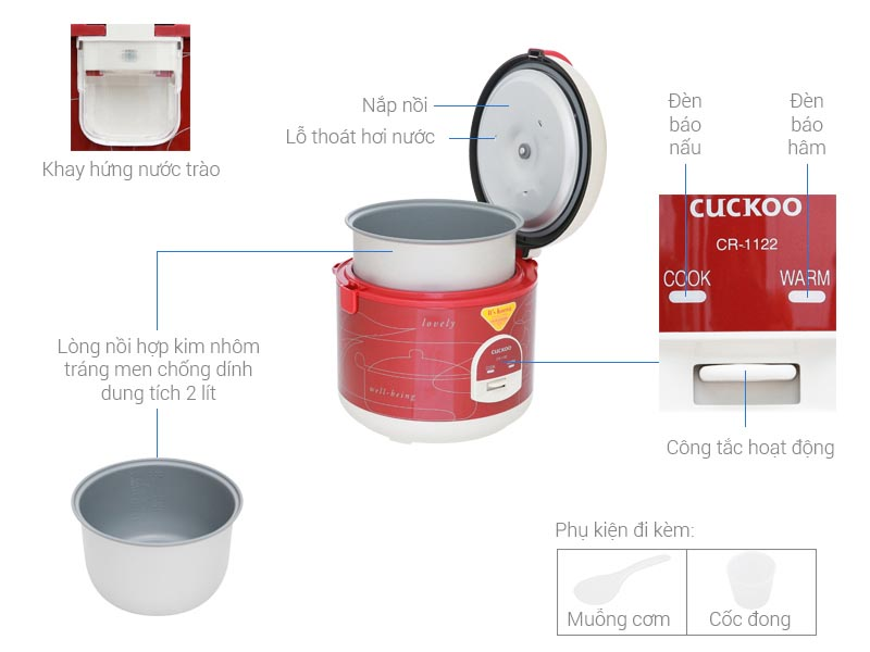 Nồi cơm điện cơ Cuckoo CR-1122 dung tích 2 lít