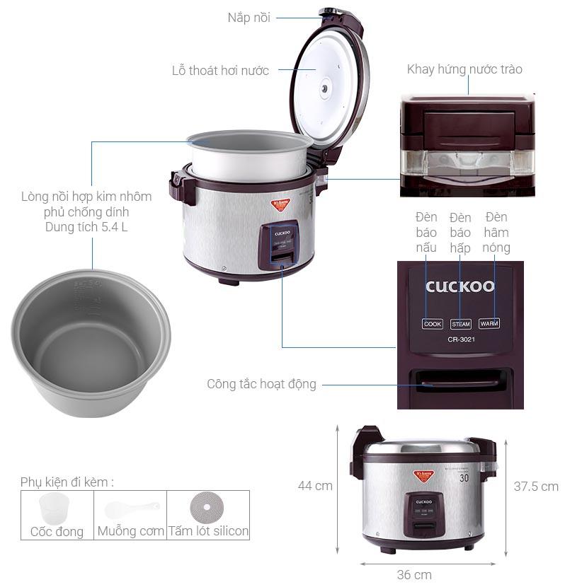 Nồi cơm điện cơ Cuckoo CR-3021 dung tích 5.4 lít xuất xứ Hàn Quốc