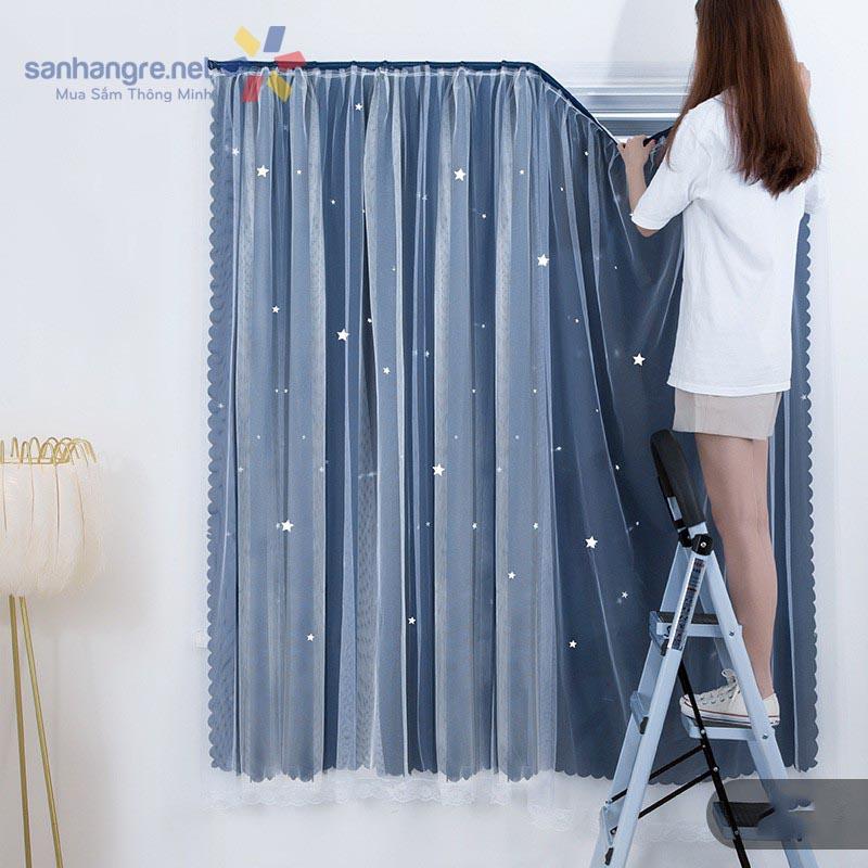 Rèm cửa dán tường 2 lớp xanh thâm màu kèm họa tiết 0,8x1,5m