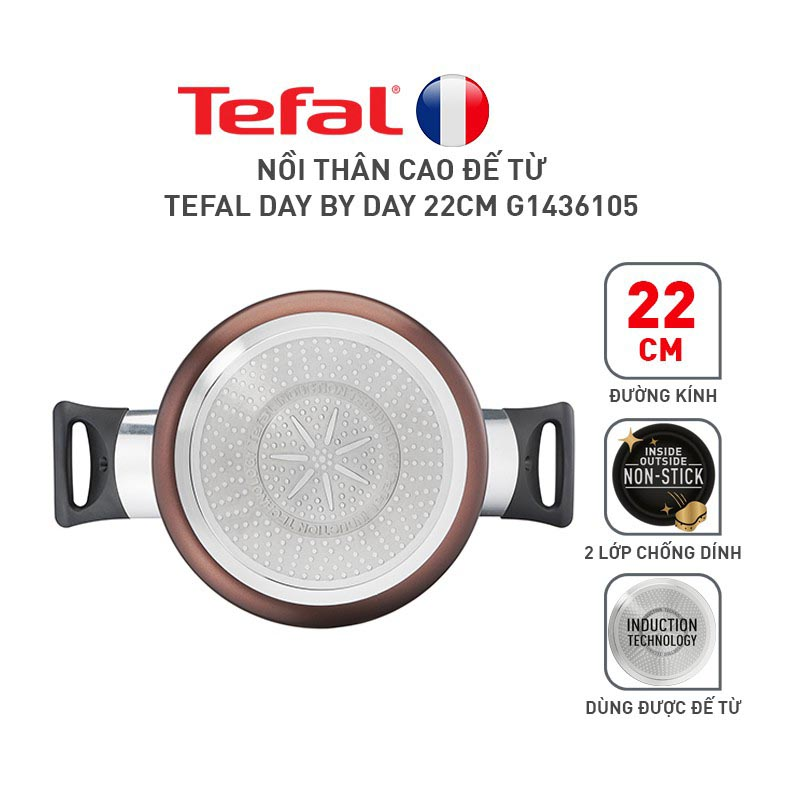 Nồi chống dính thân cao Tefal Day By Day G1436105 22cm
