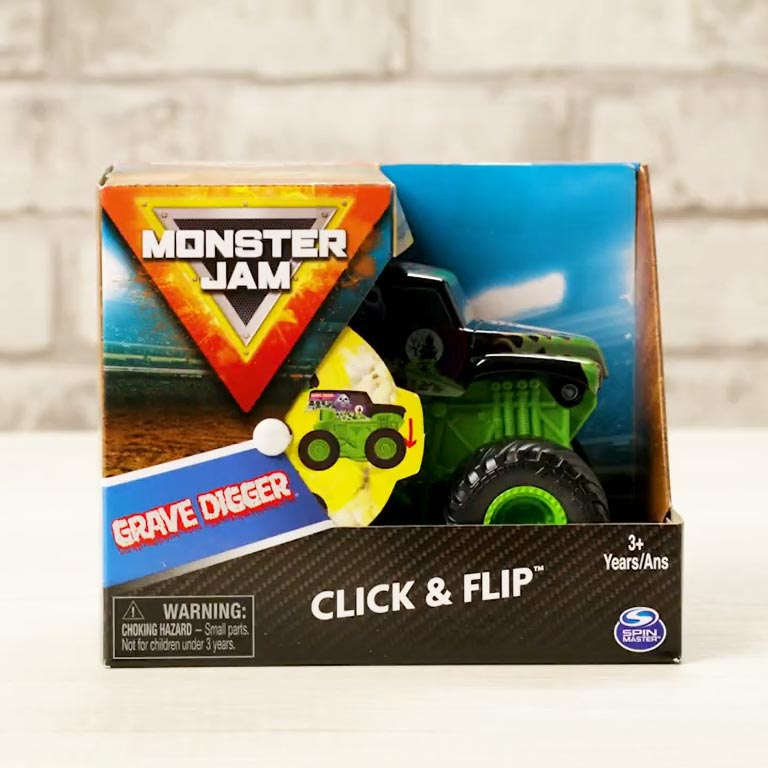 Đồ chơi chiến xe thách thức Monster Jam Click&Flip Grave Digger