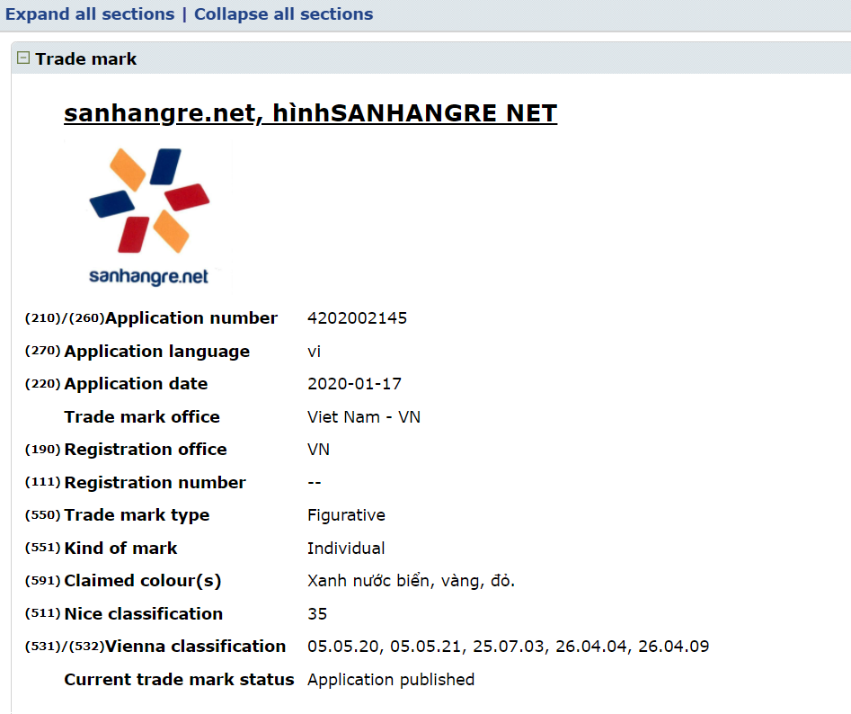 Nhãn hiệu Sanhangre.net đã được bảo hộ tại Cục sở hữu trí tuệ Việt Nam