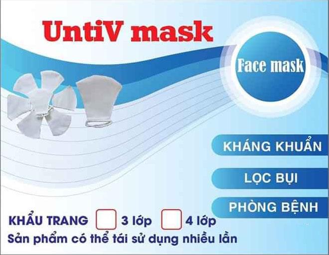 Tặng 5 khẩu trang kháng khuẩn 3 lớp UntiV Mask phòng chống dịch COVID-19