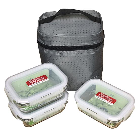 Bộ Túi Hộp Cơm Thủy Tinh Chịu Nhiệt Lock&Lock Oven Glass LLG422S4DG - Màu Xám