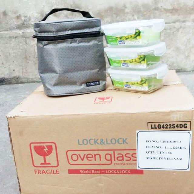 Bộ Túi Hộp Cơm Thủy Tinh Chịu Nhiệt Lock&Lock Oven Glass LLG422S4DG
