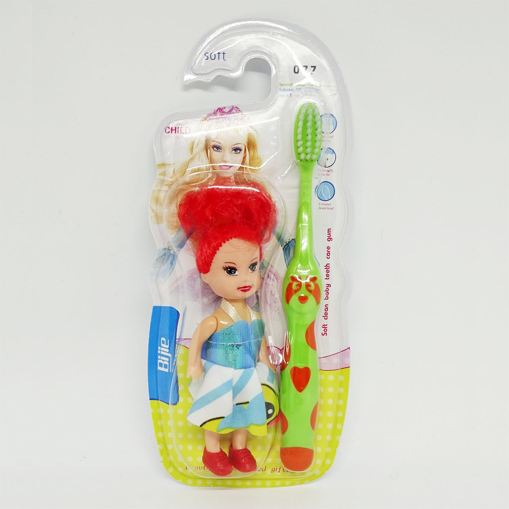 Bàn chải đánh răng cho bé gái hình gấu Bijie 077 tặng Búp bê đồ chơi hàng Thái Lan