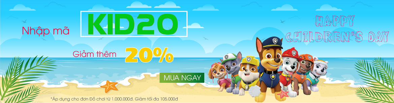 Tặng mã giảm giá 20% khi mua đồ chơi Mừng Quốc tế Thiếu nhi