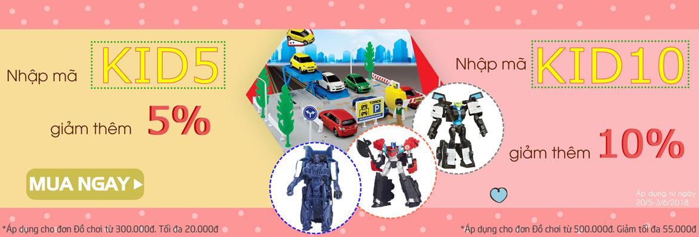 Mã giảm giá tới 10% khi mua đồ chơi ngày Quốc thế Thiếu Nhi