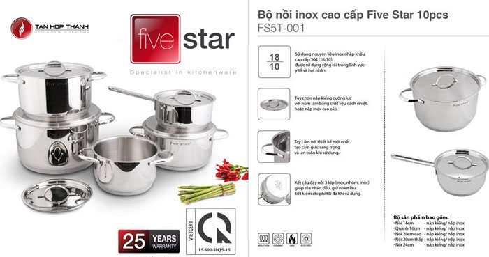 Bộ nồi Fivestar 5 móm nắp Inox cao cấp 304