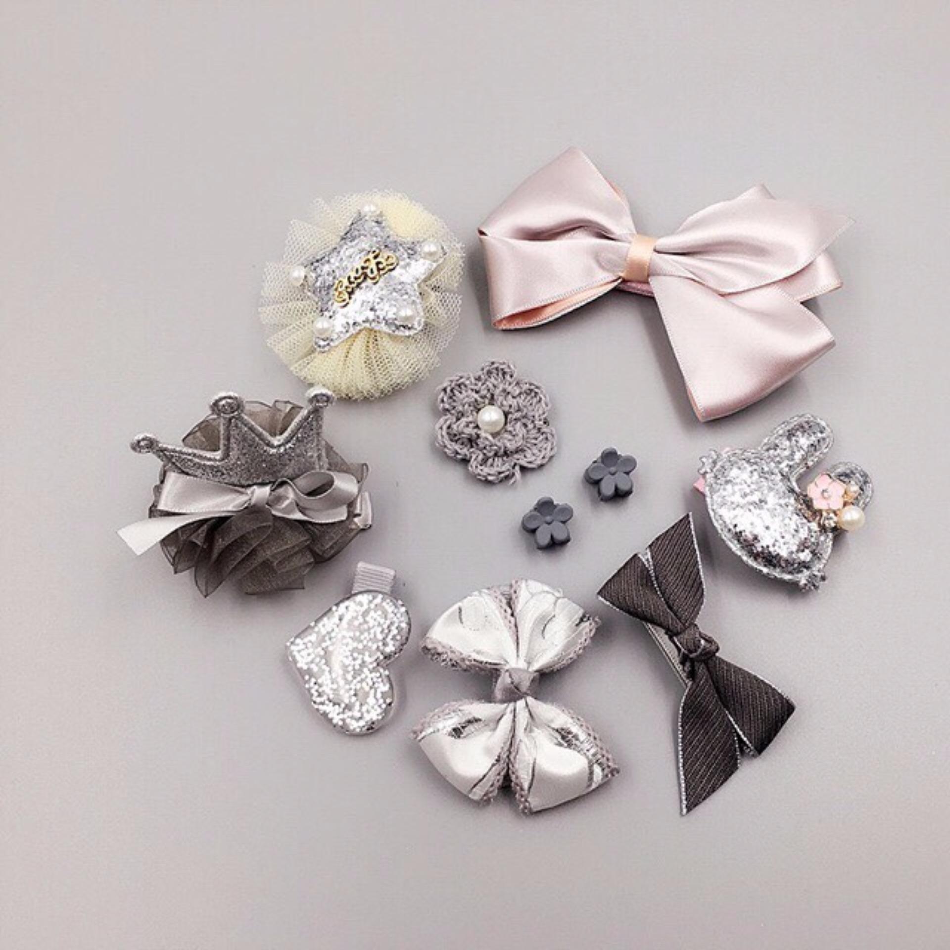 Bộ Phụ Kiện 10 Món Nơ, Cài, Kẹp Tóc Cho Bé Gái Jewelry xanh