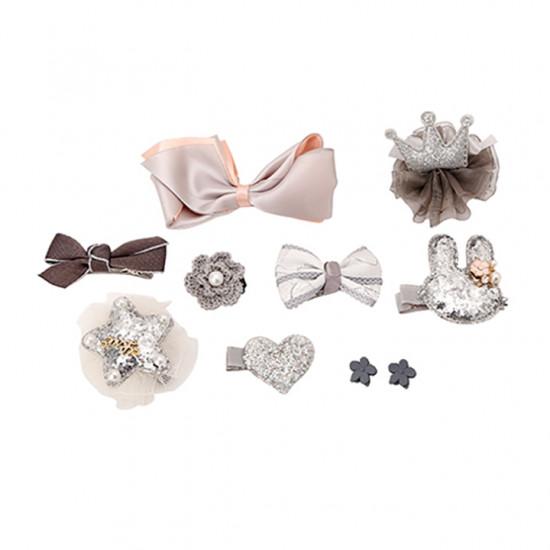 Bộ phụ kiện 10 món Nơ, Cài, Kẹp Tóc cho bé gái Jewelry hồng