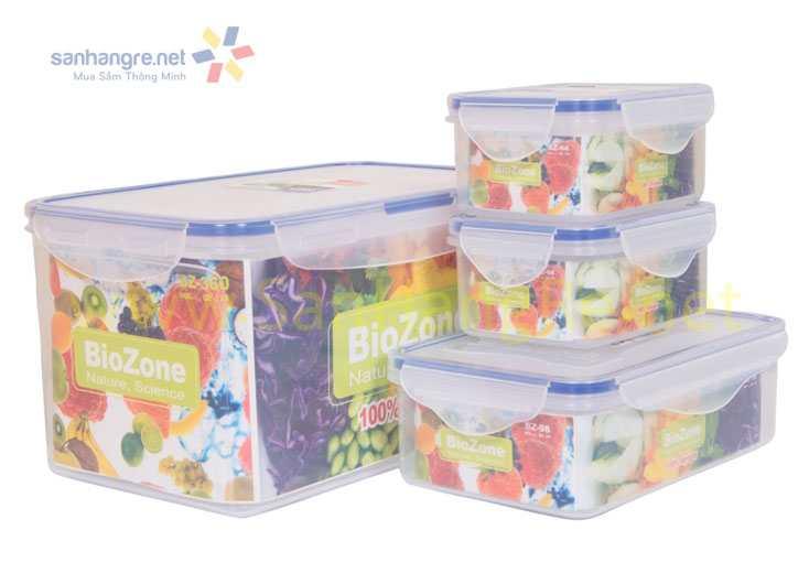 Bộ 3 hộp nhựa đựng thực phẩm BioZone BZ-4
